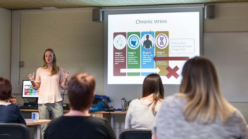 Laura presenting workplace wellbeing workshop